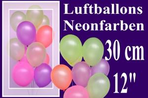 Luftballons, Rundballons, 30 cm, Neonfarben