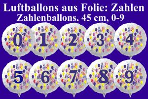 Luftballons aus Folie mit Zahlen, inklusive Helium