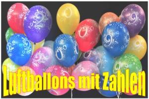 Luftballons mit Zahlen, 0-10, 10er