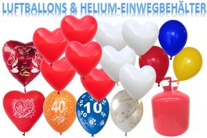Luftballons und Helium mit dem Einweg-Behälter
