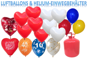 Luftballons mit dem Helium-Ballongas-Einwegbehälter