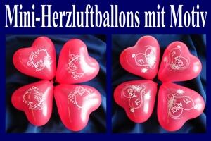 Mini-Herzluftballons mit Motiv