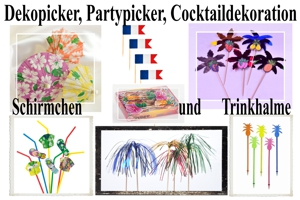 Deko-Picker, Party-Picker, Cocktaildeko, Eis-und-Frucht-Schirmchen, Trinkhalme