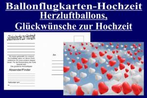 Luftballons mit Ballonflugkarten zur Hochzeit steigen lassen, Postkarte, Ballonflugkarte-Hochzeit, Herzluftballons