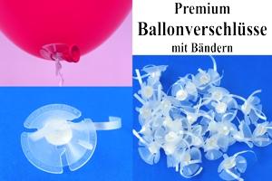 Premium Ballonverschlüsse mit Bändern