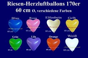 Riesen-Herzluftballons, 170er, 60 cm, verschiedene Farben