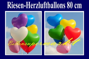 Herzluftballons aus Latex - 80 cm