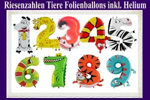 Luftballons aus Folie Riesenzahlen, Tiere, inklusive Helium