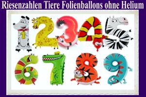 Luftballons aus Folie Tiere als Zahlen