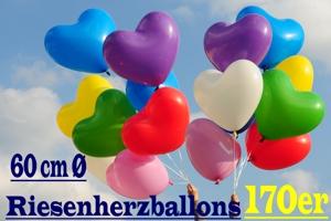 Riesen-Herzballons 170er, riesige Luftballons in Herzform Ø 60 cm