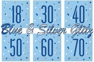 Blue & Silver Glitz, Servietten zum Geburtstag