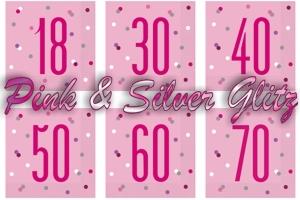 Pink & Silver Glitz, Servietten zum Geburtstag