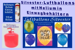 Silvester Dekoration, Luftballons und Helium-Einweg-Behälter
