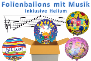 Luftballons aus Folien, Singende Ballons, inklusive Helium-Ballongas
