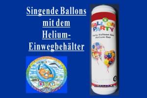 Singende Ballons mit dem Helium- Einwegbehälter
