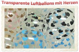 Transparente Luftballons mit Herzen