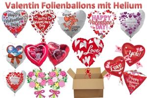 Luftballons aus Folie mit Helium zu Liebe und Valentinstag