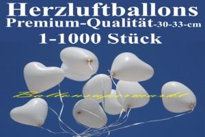 Weiße Herzluftballons, Premium, 30 cm