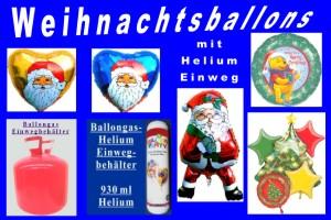 Weihnachtsballons mit dem Helium-Einwegbehälter