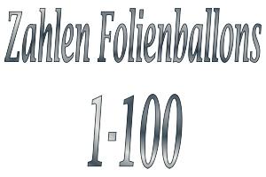 Folienballons Zahlen 1-100 ohne Helium