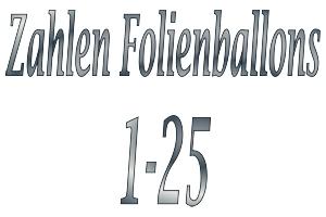 Folienballons Zahlen 1-25