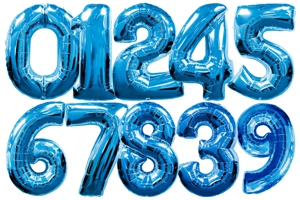 Zahlen-Folien-Luftballons, Blau, 1 Meter, Zahlendeko
