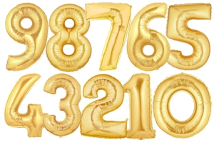 Große Zahlen-Luftballons Gold 1m