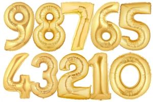 Luftballons aus Folie große Zahlen, 100 cm, Gold