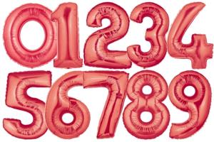 Zahlen-Folien-Luftballons, Rot, 1 Meter, Zahlendeko