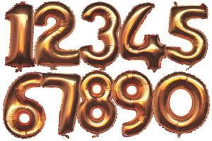 Luftballons aus Folie Zahlen, 36 cm, Gold