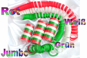 Luftschlangen Jumbo, Rot-Weiß-Grün