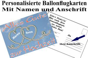 Ballonweitflugkarten personalisiert, mit Namen und Anschrift