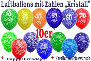 Luftballons mit Zahlen, Geburtstagsballons Kristall, 10er