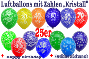Luftballons, Motiv-Bedruckt, Zahlenballons, Kristallfarben