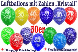 Luftballons, Motiv-Bedruckt, Zahlenballons, 50er Sortimente