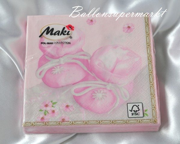 Servietten Pink Baby Shoes Mädchen Servietten Zu Geburt Und