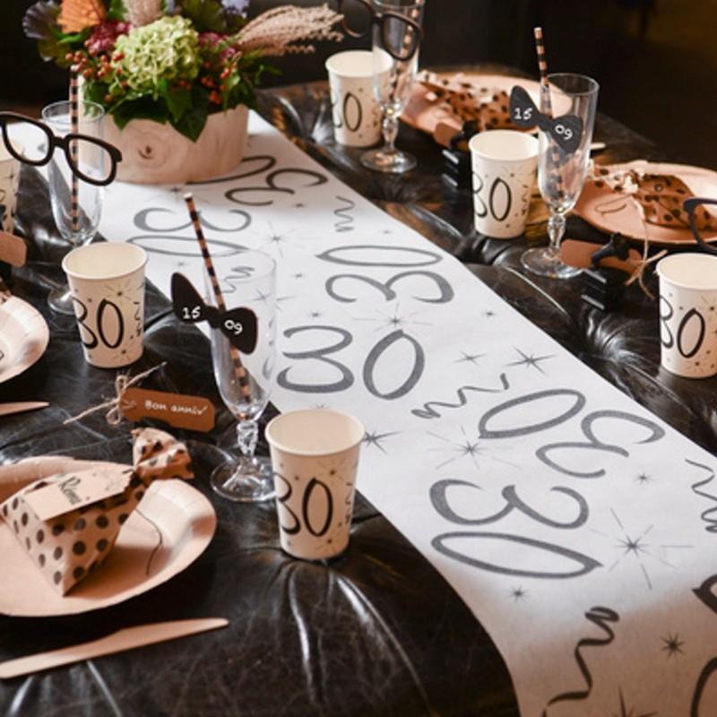 Deko Tischläufer Tischdecke Zahl 30 Tischdekoration
