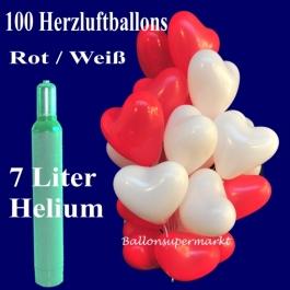 Ballons Helium Set Hochzeit, 100 rote und weiße Herzluftballons, 30 cm, mit Helium, 7 Liter Ballongas