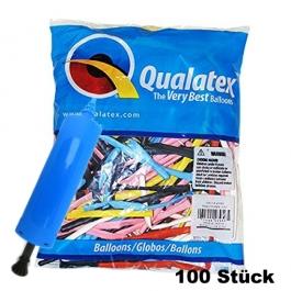 100 bunte Modellierballons von Qualatex mit Ballonpumpe