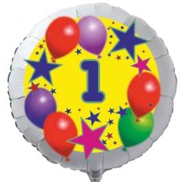 Luftballon aus Folie zum 1. Geburtstag, weisser Rundballon, Sterne und Luftballons, inklusive Ballongas