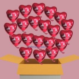20 Hochzeitsballons mit Helium, Rote Herzluftballons aus Folie, Alles Gute zur Hochzeit, Ballons schwebend mit Helium