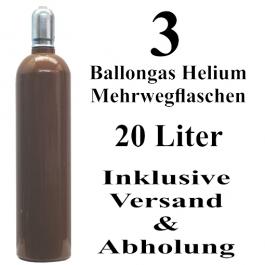 3 Ballongas Helium 20 Liter Mehrwegflaschen