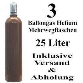 3 Ballongas Helium 25 Liter Flaschen