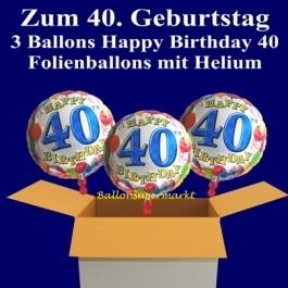 3 Luftballons mit Helium zum 40. Geburtstag, Happy Birthday Balloons, 40