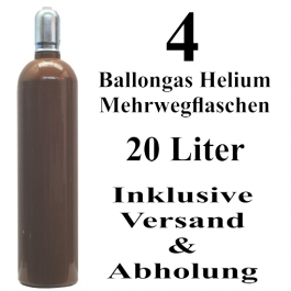 4 Ballongas Helium 20 Liter Mehrwegflaschen
