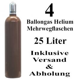 4 Ballongas Helium 25 Liter Flaschen
