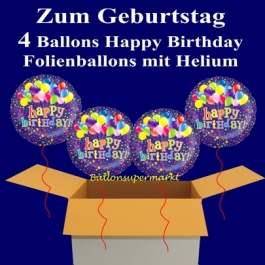 4 Ballons aus Folie mit Helium zum Geburtstag, Happy Birthday, Ballontrauben