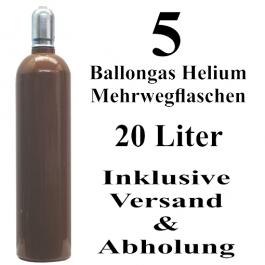 5 Ballongas Helium 20 Liter Mehrwegflaschen