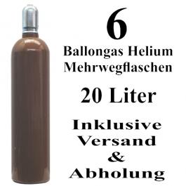 6 Ballongas Helium 20 Liter Mehrwegflaschen