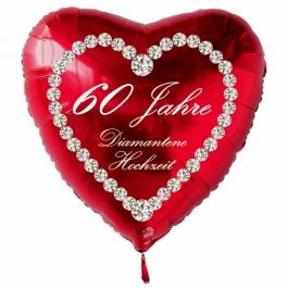Roter Herzluftballon aus Folie: 60 Jahre, Diamantene Hochzeit